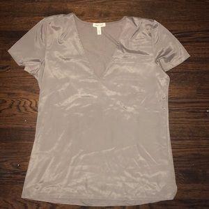 Taupe V neck T shirt